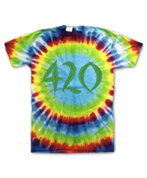 Hippo-Tees, Rainbow Tie Dye 420 tee-shirt