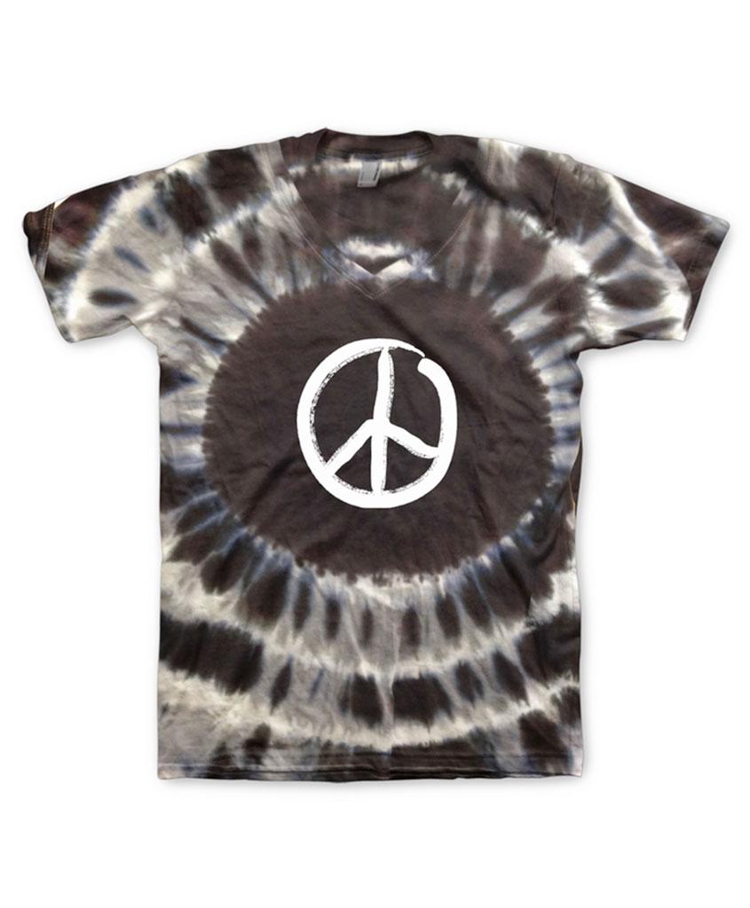 9036bdea36e Hippo-Tees Night Tie Dye Peace Sign V-Neck tee shirt