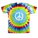 Hippo-Tees Rainbow Tie Dye Glow in the Dark Peace Sign tee shirt